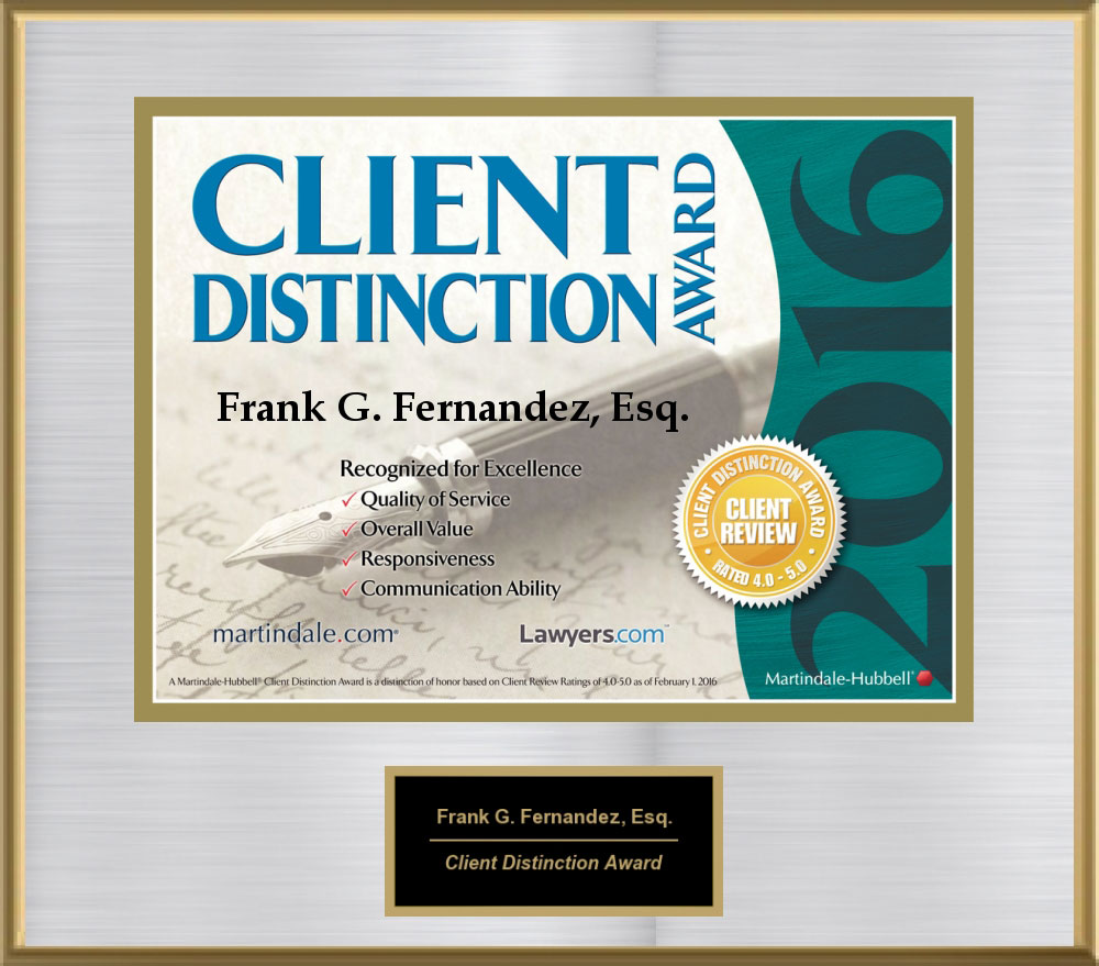 2016 Martindale Hubble Client Distinction Award