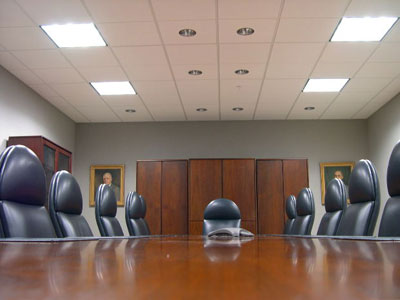 conference room typically used for taking depositions